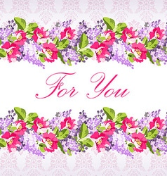Wedding card with lilac flowers and rose hips vector