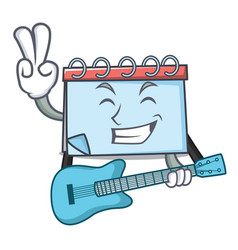 with guitar calendar mascot cartoon style vector image