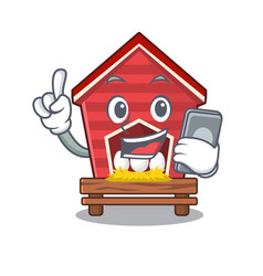 With phone chicken coop isolated in mascot vector