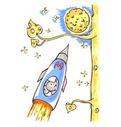 mouse is astronaut flying in the rocket vector image vector image