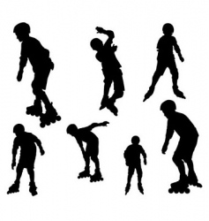 rollerblade silhouettes vector image vector image
