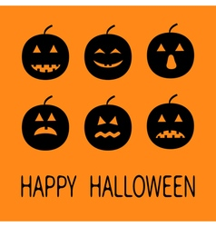Six black silhouette funny smiling pumpkins Cute vector image