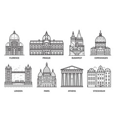 travel europe monuments and landmarks vector image vector image