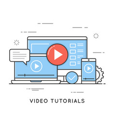 Video tutorials online training and learning vector