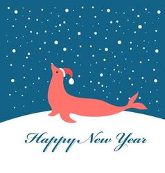 Bright Christmas card with fur seal vector image