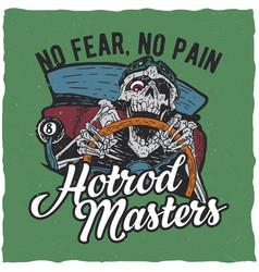 hotrod masters t-shirt label design vector image