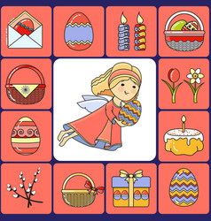 set easter icons and angel vector image