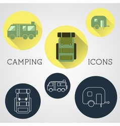 Set of outdoor adventure icons badges and vector image vector image