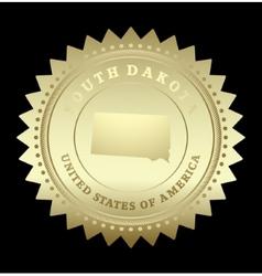 Gold star label South Dakota vector image