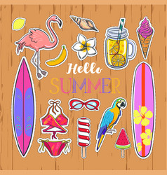 set of fashion summer stickers 2 vector image