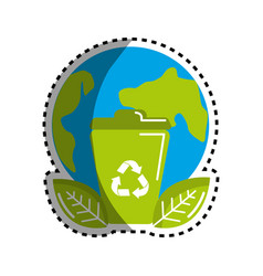 Sticker planet and can trash with recycling symbol vector