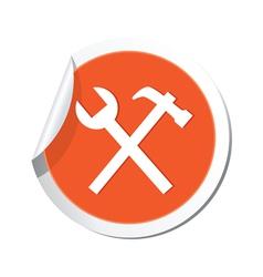 tools icon orange sticker vector image vector image