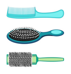 types of hair combs and hairdressing brushes vector image