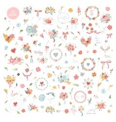 Wedding Hand Drawn vintage floral elements Set of vector image