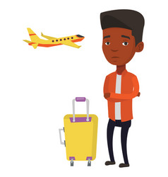 young man suffering from fear of flying vector image vector image