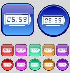 alarm clock icon sign A set of twelve vintage vector image