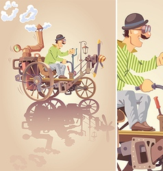 Inventor and his Steam Car vector image vector image