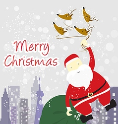santa Claus with winter background vector image vector image