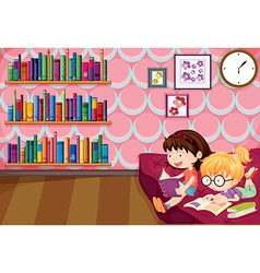 Two girls reading inside the house vector image vector image