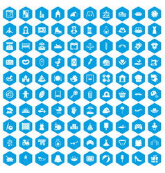 100 motherhood icons set blue vector