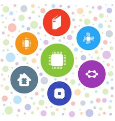 7 semiconductor icons vector image