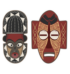 african-masks-4-5 vector image