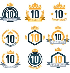 Anniversary 10 color set vector