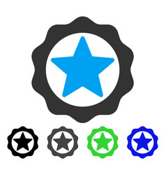 Award star seal flat icon vector