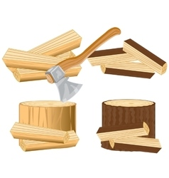 Axe and firewood vector