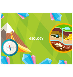 Banner of geology as science about the earth vector