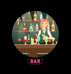 bar and girl bartender round banner vector image