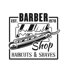 barbershop emblem with straight razor vector image