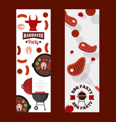 bbq party banners grilled vector image