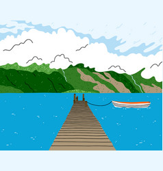 beautiful lake landscape with wooden bridge boat vector image