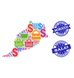 Best shopping composition of mosaic map of morocco vector