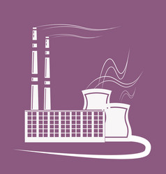 Big factory plant with emissions smoke air pipe vector