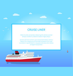 big red and white cruise liner colorful banner vector image