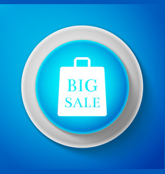 big sale bag icon isolated on blue background vector image