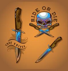Biker skull and knife for colours vector