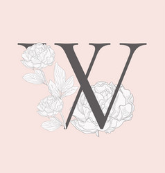 Blooming floral initial w monogram and logo vector
