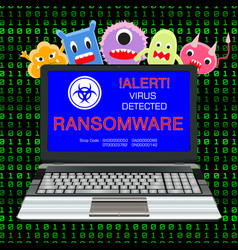 Blue screen laptop infected ransomware virus vector