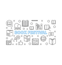 Book festival banner with line books icons vector