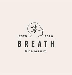 Breath hipster vintage logo icon vector