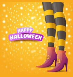 Cartoon halloween party poster with women vector