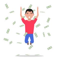 cartoon man jump falling paper money vector image