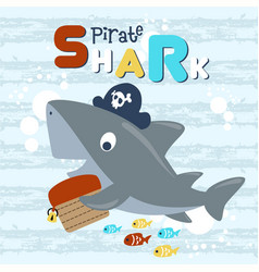 Cartoon pirate shark with treasure chest vector