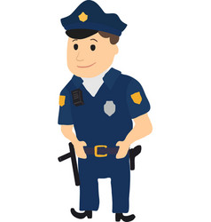 Cartoon policeman character on white background vector