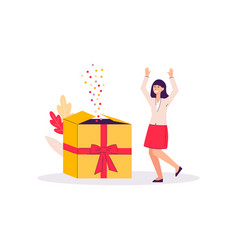 cartoon woman happy from giant gift box with vector image