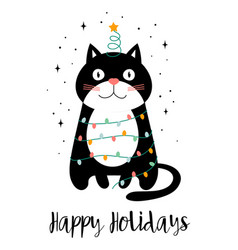 christmas card with black cat vector image