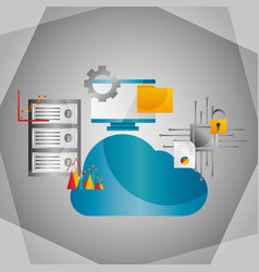 cloud computing data center information protection vector image